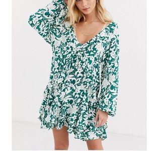Free People Rebecca Ruffle Boho floral dress L